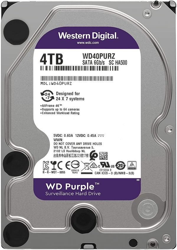 هارددیسک اینترنال وسترن دیجیتال مدل Surveillance Purple WD40PURZ ظرفیت ۴ ترابایت
