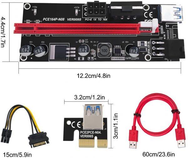 رایزر گرافیک تبدیل PCI EXPRESS X1 به X16 مدل ۰۰۹s GOLD